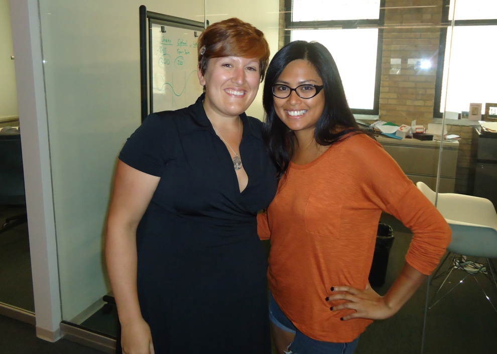 WBDC's Bethany Hartley and TechWeek's Arabella Santiago at TechWeek's Chicago office